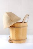 Wooden bucket with ladle for the sauna Stock Images