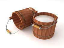 Wooden bucket with milk on white background Stock Photos