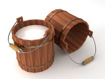 Wooden bucket with milk on white background. 3d Stock Photography