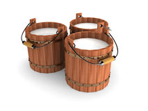 Wooden Bucket With Milk On White Background. 3d Render Illustration Stock Photography