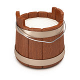 Wooden bucket with milk. On white background. 3d rendering image Royalty Free Stock Image