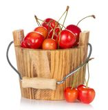 Wooden bucket with pink ripe sweet cherry Royalty Free Stock Photography