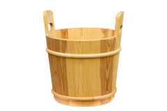 Wooden bucket for a sauna. Stock Photo