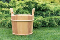Wooden bucket for sauna. Royalty Free Stock Photography