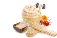 Wooden bucket with SPA accessories with Himalayan Salt scrub Royalty Free Stock Images