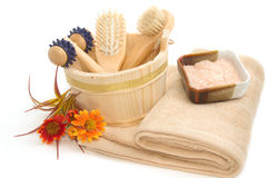 Wooden bucket with SPA accessories with Himalayan Salt scrub Royalty Free Stock Photography
