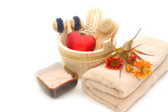 Wooden bucket with SPA accessories Stock Images