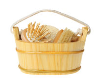 Wooden bucket of spa-type item Royalty Free Stock Images
