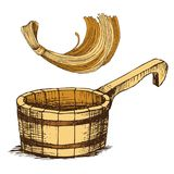 Wooden bucket and a sponge for washing, for Russian bath for body hygiene. Set of accessories for bath, sauna. Hand vector illustration