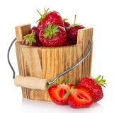 Wooden bucket of strawberry Stock Photo
