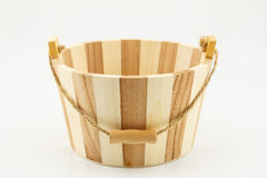 Wooden bucket  on white background Royalty Free Stock Image