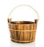 Wooden bucket on white background Stock Photography