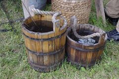 Wooden buckets royalty free stock images