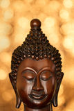 Wooden Buddha head portrait Royalty Free Stock Photography