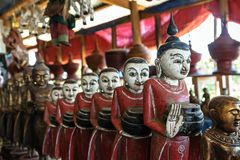 Wooden Buddha. The most favorite souvenir in Myanmar is wooden Buddha Stock Image