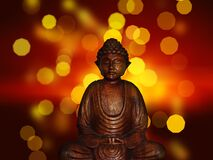 Wooden Buddha statue Stock Photography