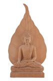 Wooden Buddha Statue with Bo Leaf Royalty Free Stock Photos