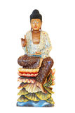 Wooden Buddha Statue, Sitting On Lotus Flower Isolated On White Royalty Free Stock Photos