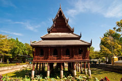 Wooden buddhist church Royalty Free Stock Photo