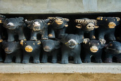 Wooden buffalo doll offer sacrifices, Buddhist believe for good. Luck Royalty Free Stock Photography