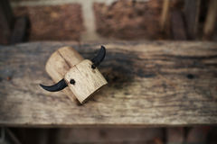 The Wooden Buffalo on woods at the garden Royalty Free Stock Images