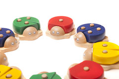 Wooden bugs toys Stock Images