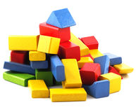 Wooden building blocks. On white background Stock Image