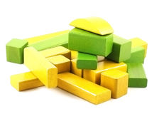 Wooden building blocks. On white background Royalty Free Stock Image