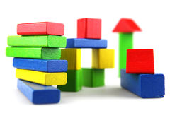 Wooden building blocks Royalty Free Stock Images
