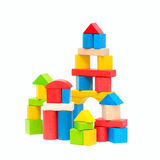 Wooden building blocks. Isolated on white background Royalty Free Stock Photo
