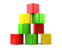Wooden building blocks. On white background stock photos