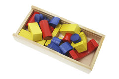 Wooden Building Blocks in Box Royalty Free Stock Photo