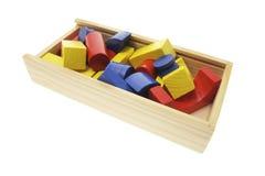 Wooden Building Blocks in Box stock photos