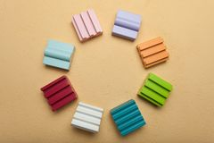 Wooden building blocks in circle, creative, logical thinking.  royalty free stock images