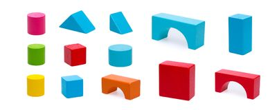Wooden building blocks isolated on white background Stock Images