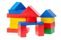 Wooden building blocks for kids isolated on white background.  stock photo