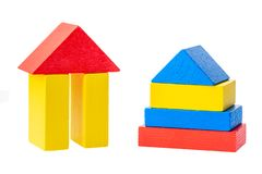 Wooden building blocks for kids isolated on white background.  royalty free stock photography