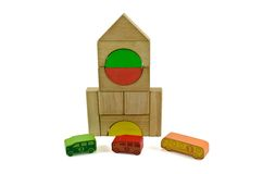Wooden building blocks school bus Stock Photo