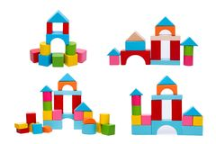 Wooden building blocks isolated on white background Royalty Free Stock Image