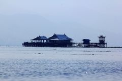 The wooden building in Inle Lake at Myanmar. royalty free stock photography
