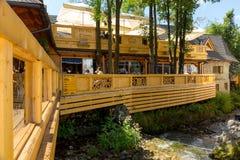 Wooden building of famous restaurant in Zakopane Royalty Free Stock Photos