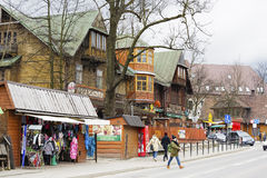Wooden building formerly biggest hotel in Zakopane Stock Images