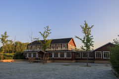 Wooden building. A wooden house with Chinese architectural style Stock Photo