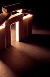 Wooden Building Model with Abstract Lighting. Wooden Building Model with Abstract Dark Lighting All Coming From Behind Structure stock photos