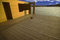 Wooden building over lake.  Royalty Free Stock Photo