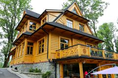 Wooden building after renovation in Zakopane royalty free stock photos