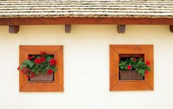 Wooden building with windows Stock Photography