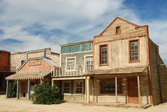 Wooden buildings in an American town stock images
