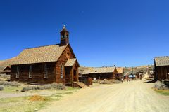 Methodist Church and Wooden Houses line the Main Street of Bodie Ghost Town, California royalty free stock photography