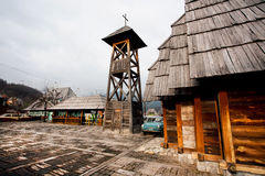 Wooden buildings of ethno village Stock Image